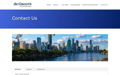 Screenshot of Contact Page degroots.com.au - Contact Us - de Groots wills and estate lawyers - captured Oct. 11, 2019