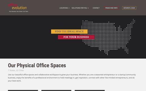 Screenshot of Locations Page officeevolution.com - Our Physical Office Spaces - Office Evolution - captured Aug. 15, 2016