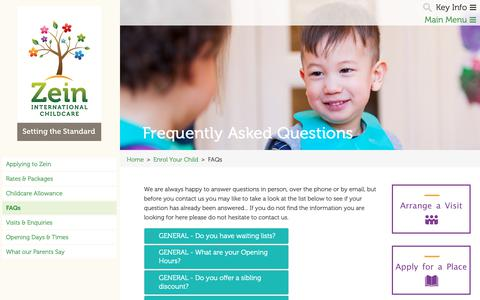 Screenshot of FAQ Page zeinchildcare.nl - Frequently Asked Questions | Zein Child Care - captured Oct. 18, 2018