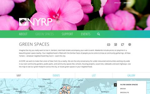 Screenshot of Maps & Directions Page nyrp.org - Green Spaces   NYRP - captured Nov. 8, 2017