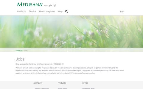Screenshot of Jobs Page medisana.com - Medisana ® - made for Life - captured Oct. 19, 2018