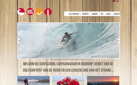 Screenshot of Home Page surfkaravaan.nl - Surfschool SurfKaravaan | surfen | surflessen | SUPlessen - captured Oct. 1, 2014