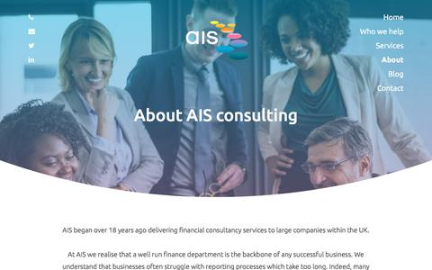 Screenshot of About Page ais-cfo-solutions.com - About | AIS Consulting - captured July 31, 2018