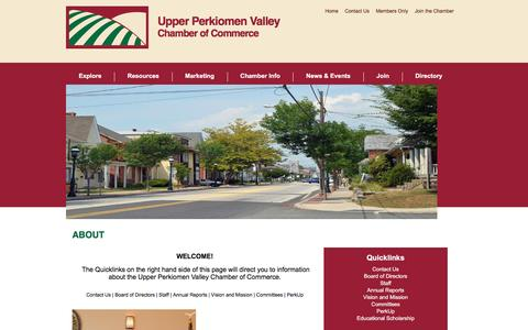 Screenshot of About Page upvchamber.org - About - Upper Perkiomen Valley Chamber of Commerce | East Greenville, PA - captured Dec. 1, 2016