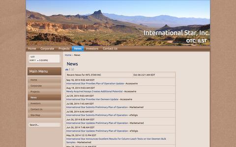 Screenshot of Press Page ilstholdings.com - News - International Star, Inc. - captured Oct. 6, 2014