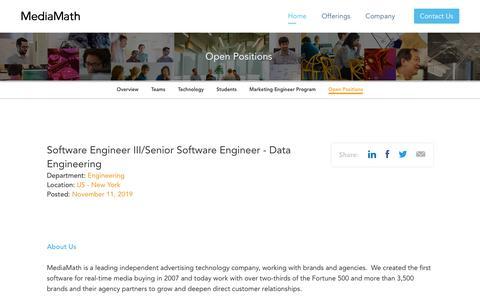 Screenshot of Jobs Page mediamath.com - Software Engineer III/Senior Software Engineer - Data Engineering, Engineering - Join MediaMath - captured Nov. 18, 2019