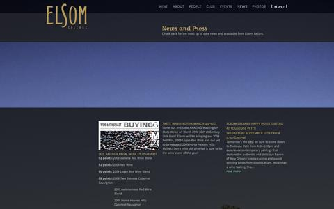 Screenshot of Press Page elsomcellars.com - News | Elsom Cellars - captured Sept. 29, 2014