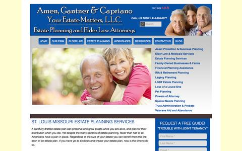 Screenshot of Services Page yourestatematters.com - St. Louis Missouri Estate Planning Services - Amen, Gantner & Capriano - Attorneys at Law, Your Estate Matters, L.L.C.Amen, Gantner & Capriano – Attorneys at Law, Your Estate Matters, L.L.C. - captured Feb. 6, 2016
