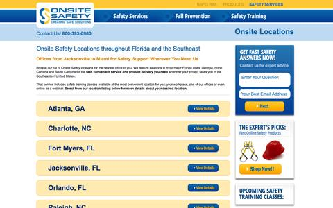 Screenshot of Locations Page onsitesafety.com - Locations | Onsite Safety - captured Oct. 26, 2014