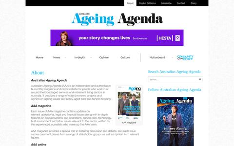 Screenshot of About Page australianageingagenda.com.au - About - Australian Ageing Agenda - captured July 31, 2018