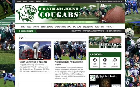 Screenshot of Press Page chatham-kentcougars.com - Chatham-Kent Cougars Football | | News - captured Dec. 8, 2015
