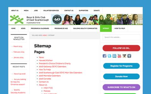 Screenshot of Site Map Page esbgc.org - Sitemap - Boys & Girls Club of East Scarborough - captured Nov. 23, 2016