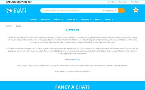 Screenshot of Jobs Page eventprophire.com - Careers | Event Prop Hire - captured Nov. 5, 2018