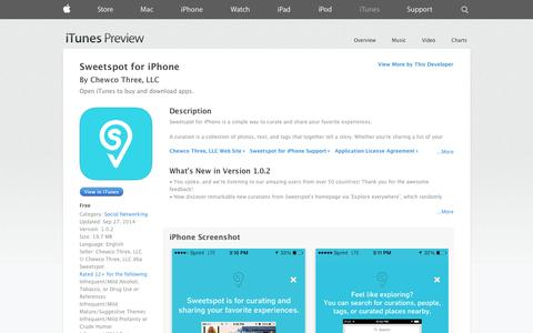 Screenshot of iOS App Page apple.com - Sweetspot for iPhone on the App Store on iTunes - captured Oct. 26, 2014