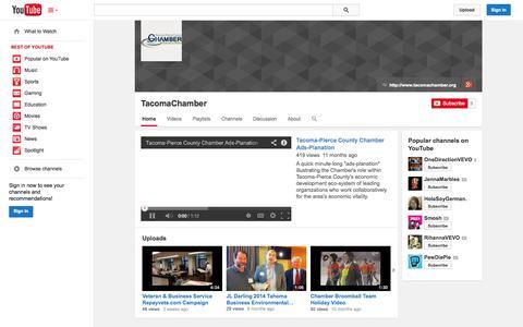 Screenshot of YouTube Page youtube.com - TacomaChamber  - YouTube - captured Oct. 26, 2014