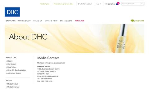 Screenshot of Press Page dhcuk.co.uk - Media Contact | The Japanese Skincare and Make-up Experts | DHC UK - captured Feb. 8, 2016
