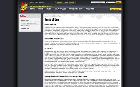 Screenshot of Terms Page amoeba.com - Amoeba Music - Terms of Use - captured Feb. 28, 2017
