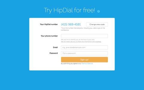 Screenshot of Signup Page hipdial.com - Start your free trial - HipDial - captured Sept. 30, 2014