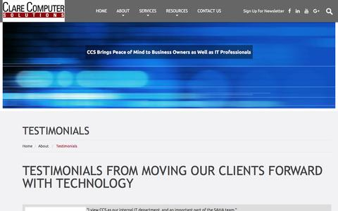 Screenshot of Testimonials Page clarecomputer.com - Happy Bay Area Client Testimonials From Clare Computer Solutions - captured Nov. 7, 2016