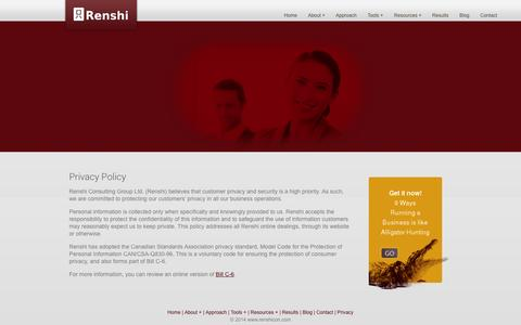 Screenshot of Privacy Page renshicon.com - Privacy Policy | Renshi Business Performance Consulting - captured Oct. 7, 2014