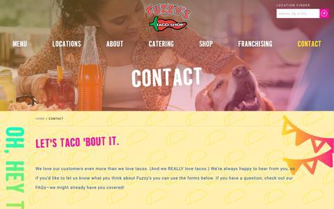 Screenshot of Contact Page fuzzystacoshop.com - Contact | Fuzzy's Taco Shop - captured June 6, 2017