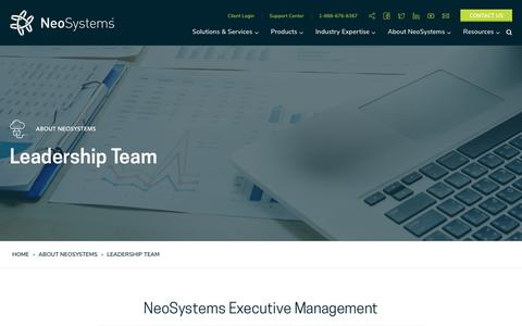 Screenshot of Team Page neosystemscorp.com - Our Team Executive Management - NeoSystems LLC - captured Sept. 14, 2018