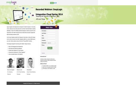 Screenshot of Landing Page snaplogic.com - Spring Release 2015 Webinar   SnapLogic - captured Aug. 13, 2016