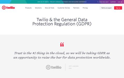 Screenshot of Privacy Page twilio.com - Twilio GDPR Program - captured Nov. 28, 2019