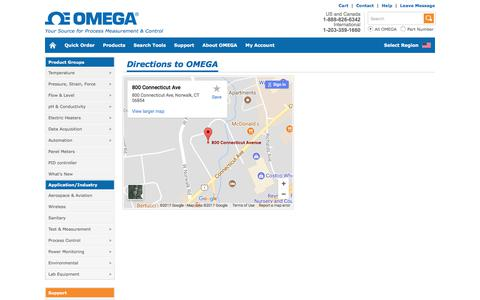 Screenshot of Maps & Directions Page omega.com - Directions to OMEGA - captured Sept. 17, 2017
