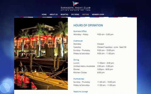 Screenshot of Hours Page sarasotayachtclub.org - Hours of Operation - Sarasota Yacht Club - captured Oct. 29, 2014