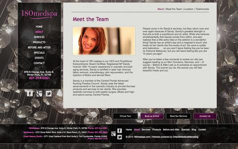 Screenshot of About Page 180medspa.com - 180 Medspa - About  Us - Meet the Team - captured Oct. 27, 2014