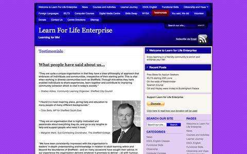 Screenshot of Testimonials Page learnforlifeenterprise.co.uk - Testimonials   Learn For Life Enterprise - captured July 17, 2018