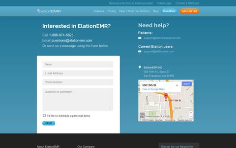 Screenshot of Contact Page elationemr.com - Contact Us | Ask Us Your Questions, We're Easy to Reach - captured July 19, 2014
