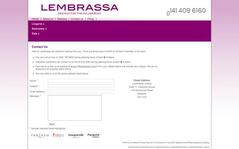 Screenshot of Contact Page lembrassa.com - Lembrassa Limited - captured Nov. 10, 2018