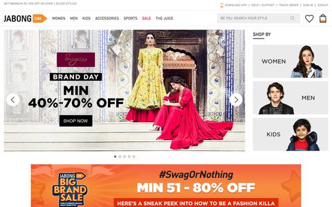 Screenshot of Home Page jabong.com - Jabong| Best Online Fashion & Lifestyle Shopping Site In India| Big Brands, Best Prices - captured Jan. 18, 2018