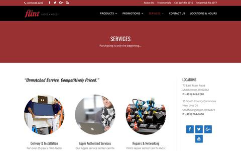 Screenshot of Services Page flint-audio.com - Service - Flint Audio & Video - Installation, Repair, IT - captured Oct. 14, 2017