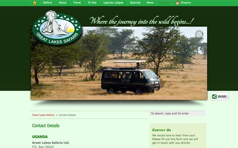 Screenshot of Contact Page safari-uganda.com - Contact Great Lakes Safaris in Uganda - captured Sept. 24, 2014