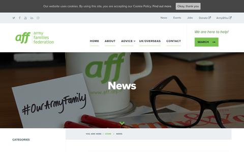 Screenshot of Press Page aff.org.uk - News Archives - Army Families Federation - captured Oct. 4, 2018
