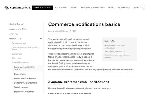 Screenshot of Support Page squarespace.com - Commerce notifications basics – Squarespace Help - captured Feb. 11, 2019