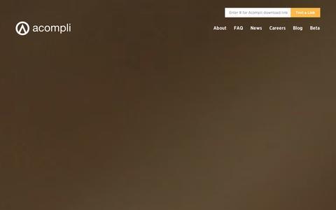 Screenshot of Home Page acompli.com - Acompli - captured Sept. 10, 2014