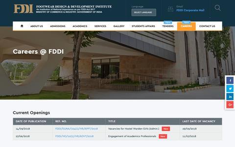 Screenshot of Jobs Page fddiindia.com - Opening @ FDDI - captured Sept. 27, 2018
