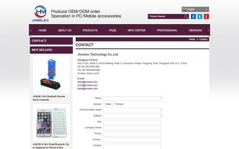 Screenshot of Contact Page jhmelec.com - Contact Bluetooth keyboard, wireless remote shutter, monopod - captured Dec. 20, 2015