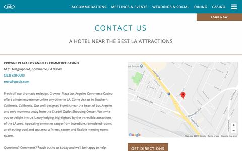 Screenshot of Contact Page cpccla.com - Contact and Directions - Crowne Plaza Commerce Hotel & Casino - captured Sept. 30, 2018