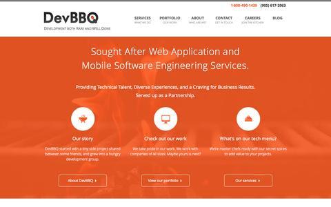 Screenshot of Home Page devbbq.com - DevBBQ - A web application and mobile software engineering company - captured Oct. 5, 2014