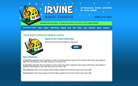 Screenshot of Jobs Page irvinemusiclessons.com - Teach Music In OC With Us! - captured Sept. 30, 2014