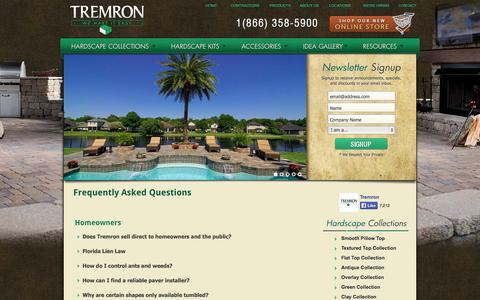 Screenshot of FAQ Page tremron.com - Frequently Asked Questions | Tremron Jacksonville Pavers, Retaining Walls, Fire Pits | Atlanta, Miami, Orlando, Tampa, Florida Paver Manufacturer - captured Sept. 23, 2014