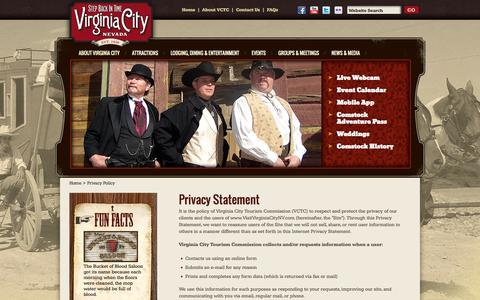 Screenshot of Privacy Page visitvirginiacitynv.com - Privacy Policy - Virginia City, Nevada – Official Site for Hotels, Restaurants, Museums, Attractions, Events, History – Comstock Lode Mining, V&T Railroad, Storey County - captured Oct. 30, 2014