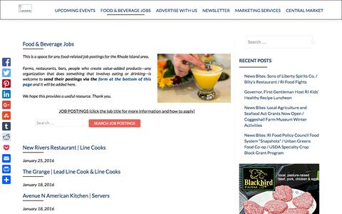 Screenshot of Jobs Page eatdrinkri.com - Food & Beverage Jobs - eat drink RI - captured Jan. 25, 2016