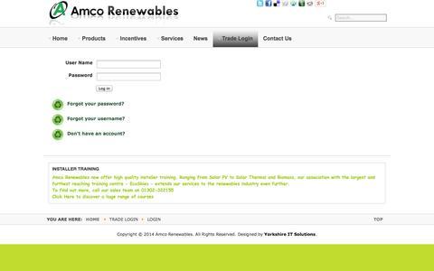 Screenshot of Login Page amcorenewables.co.uk - Login - Amco Renewables - captured Sept. 30, 2014