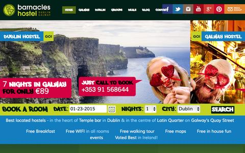 Screenshot of Home Page barnacles.ie - Barnacles hostel Dublin | Barnacles hostel Galway - captured Jan. 23, 2015